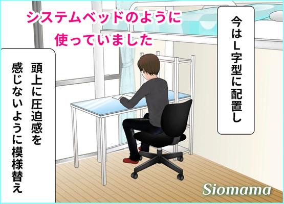 ロフトベッドと机をL字型に配置しているイラスト